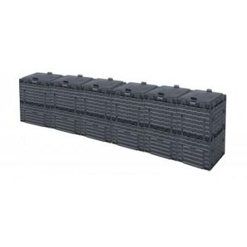 Ящик для компоста (компостер садовый) 1800л Piteco с крышкой K1130 чёрный (из 6-и мест)