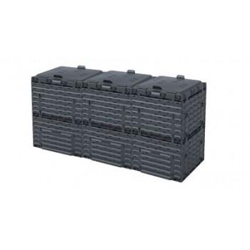 Ящик для компоста (компостер садовый) 900л Piteco с крышкой K1130 чёрный (из 3-х мест)